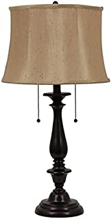 allen + roth 28H Bronze Oil-Rubbed Table Lamp with Silken Toast Shade T-3589
