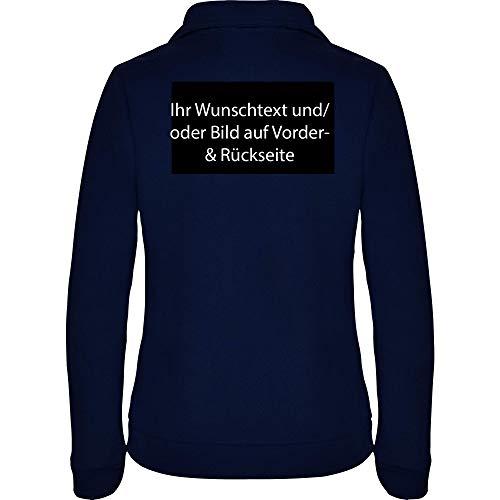 loco Personalisierte Damen Fleece Jacke Jacket Pullover Full Zip mit Ihr Wunschtext und/oder Bild L34W (Navy, M)