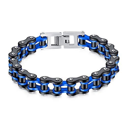 ATEIELLI Homme Bracelet en Acier Inoxydable Bicolore Moto Chaîne Noir 22cm B300 (Bleu)