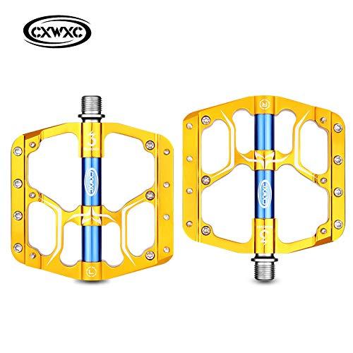 elegantstunning Fahrradpedal, flach, MTB, Rennrad, 3 Kugellager, Mountainbike-Pedale, breite Plattform Einheitsgröße CX-V15 gelb
