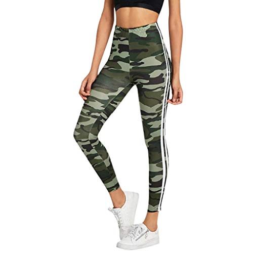 Qmber Yoga Hosen Damen Sport Hosen Leggings Pants Jogging Yogahose Running Slim Skinny Fit Straight Stretch Relaxed Gym Enge Leggings mit Laufmode Tarnung/Grün,XL