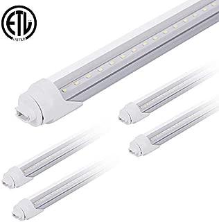 ONLYLUX 8ft Led Bulbs F96t12 HO T12 Led Bulb Replacement R17D Socket Fluorescent Fixtures, 40W 4000LM 6500K Daylight, Clear Lens, Garage Workshop (4 Pack)
