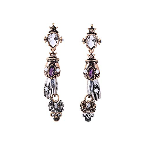 N-B Retro Earrings Gothic Style Skull Crown Personality Wild Small Hand Earrings Women