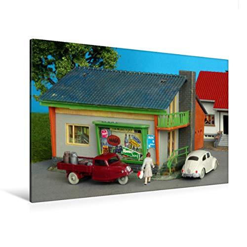 CALVENDO Premium Textil-Leinwand 120 x 80 cm Quer-Format Goli-Dreirad und VW Käfer, Leinwanddruck von Peter Huschka