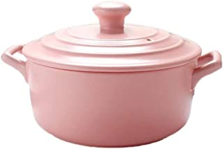 BGSFF Clay Cooking Pots Clay Pan Clay Pot Earthen Pot Ceramic Cookware with Lid Heat-Resistant Orange 2.2L-Pink_2.2L