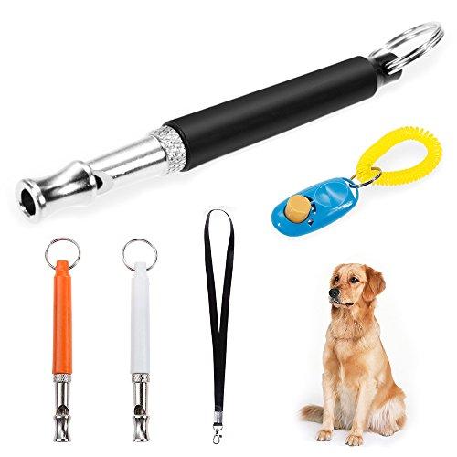 Faburo 3pcs Ultrasonic Dog Training Whistles with Lanyard, Clicker,...