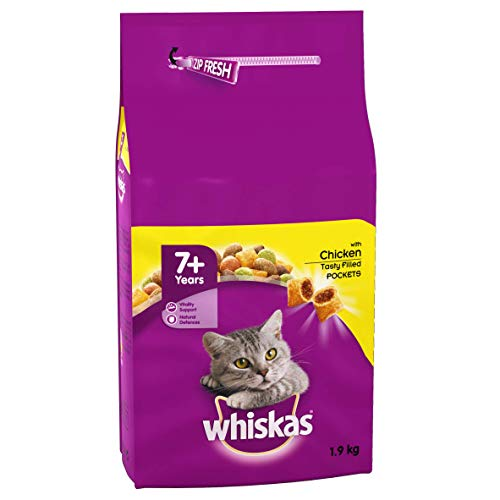 Whiskas 7+ Dry Cat Food for Senior Cats with Chicken, 4 bags (4 x 1.9 kg)