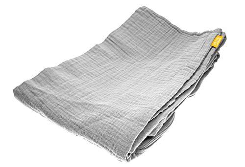 Mizali - Bettschlangenbezug 300 cm - Musselin Bezug mit Reißverschluss - waschbar - Bettumrandung Babybett Kantenschutz Kinderbett (300, Hellgrau)