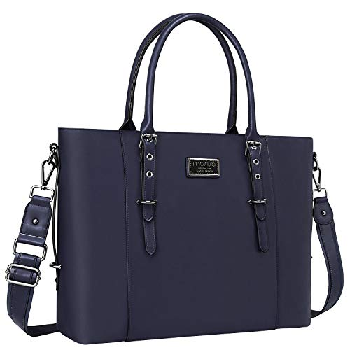 MOSISO PU Leather Laptop Tote Bag for Women (15-16 inch), Navy Blue