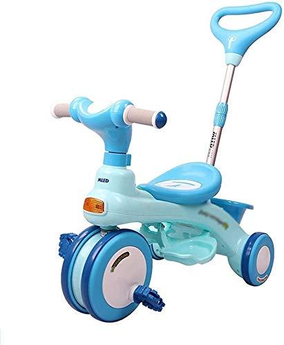 Xiaoyue Fahrräder 3~10 Jahre alt Kinder Tricycle Kinderwagen Pram Indoor Baby-Fahrrad-Praxis Fahrrad (Farbe: Blau, Größe: 66.5x39.5x49.5cm) lalay