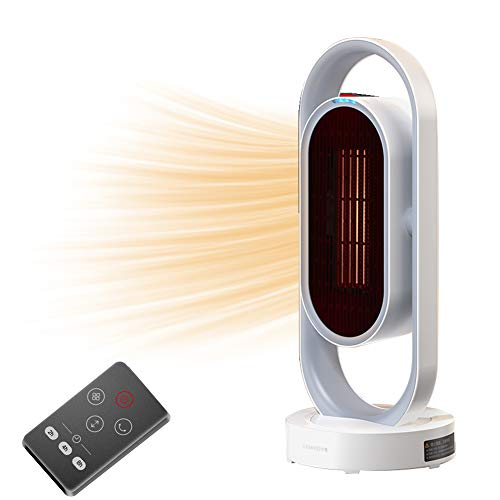 DH-QN08 1500W Oscillating Space Heater, Indoor Heater, Fast Heating Within 2s W/ PTC Heating Tech, Tower Ceramic Heater With Overheat Protection, Tip Over Protection, 3 Timers & 3 Heating Temperature W/ Remote Control for Office and Home (White)