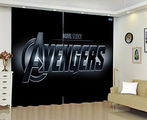 Vorhänge Blickdicht Ösen Gardinen, Verdunkelungsvorhänge Geräuschreduzierung Avengers Vorhang/Gardine für Kinderzimmer Wohnzimmer Schlafzimmer 150 x 166 cm
