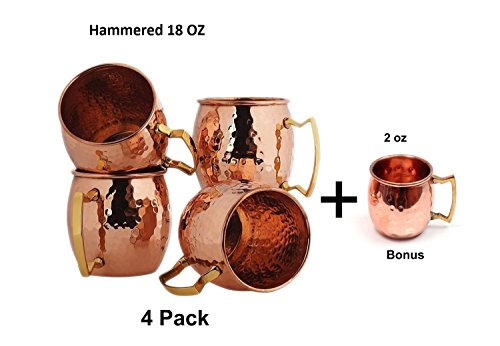 4 pcs straw Free Hammered Moscow Mule Copper Cups Set 510.3 grams Pack of 4