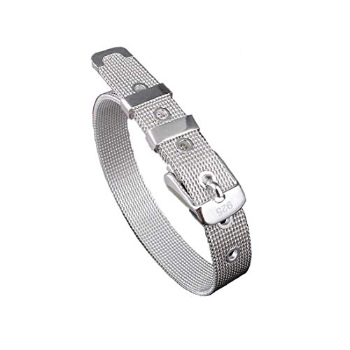 Stainless Steel Bracelet Sliver Belt Buckle Bracelet for Men Women 10mm Wide Fits Up to 8.5' Inch Wrist Personal Care