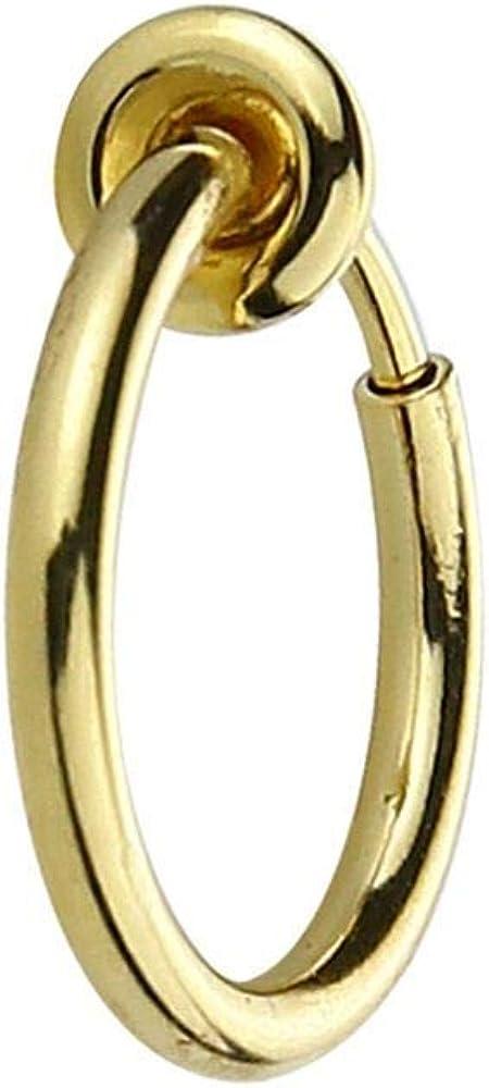 QTALKIE Unisex Simple And Slim Alloy Ring Hoop Clip On Earrings,No Piered