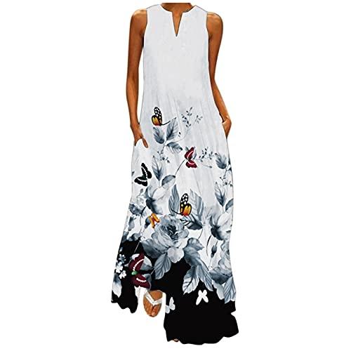Hmlai Clearance Vestido de verano para mujer, sexy, informal, talla grande, con correa de espagueti, color degradado, para ocasiones especiales, Moderno / Equipada, 5XL