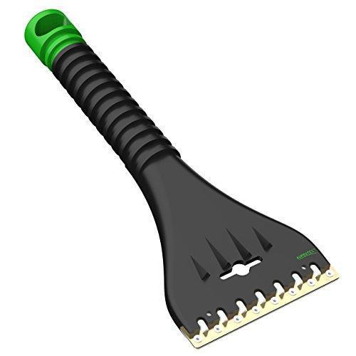AUPROTEC Grattoir à Glace avec Racloir Double en Laiton et Polycarbonate + Dents Brise-Glace Gratte-Givre Raclette Pare Brise Outil d'hiver AE 1 - Couleur Noir-Vert