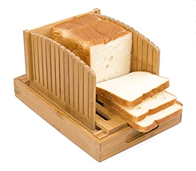 Toughard Bamboo Compact Foldable Bread Slicer Cutting Guide with Crumb Catcher Tray for Homemade Bread, Loaf Cakes & Bagels, Adjustable Toast Slicer Sandwich Maker (New Version)