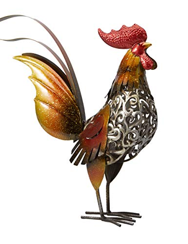 Amoy-Art Rooster Sculpture Statue Metal Carved Iron Animal Figurine Decor for Home Lawn Gifts Souvenirs Giftbox 40cmH