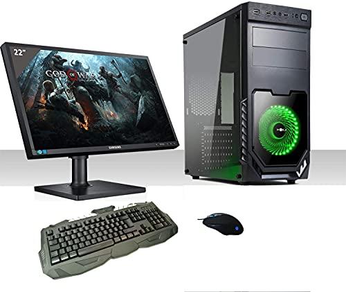 Pc Desktop Intel Quad Core,Windows 10Pro/Wifi/Hd 1Tb/Ram 8Gb/Monitor 22 Led Vga/Tastiera E Mouse, Pc Fisso Completo Pronto All'Uso