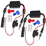 2PCS Universal Car Stereo Radio FM Antenna Signal Booster Amplifier Amp,12V Power Supply Motorola DIN Plug Connector for Vehicle Truck SUV Car Audio Boat Radio Stereo 12V Signal Antenna Enhance