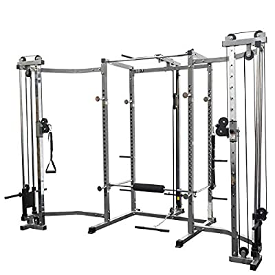 Valor Fitness BD-7BCC Power Rack with LAT Pull & Cable Crossover Attachments