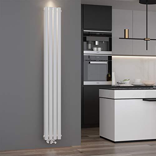 ELEGANT Design Paneelheizkörper Röhren 1800 x 236 mm Weiß Doppellagig Badheizkörper Mittelanschluss Vertikal Röhren Heizkörper