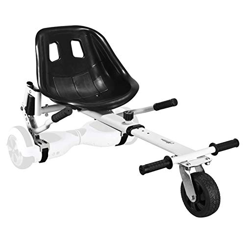 Best Prices! Upgrade Hoverboard Conversion Kit Seat Attachment Go Cart, Go Kart Accessories for Hoverboard with Heavy Duty Flame, Fun for Kids Fits 6.5″/8″/10″ (White)