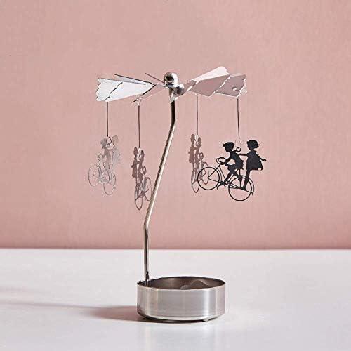 ZTMN Roterende zilveren kaarshouder metalen thee licht kandelaars creatieve meerdere patronen kandelaar houder voor bruiloft feest kerstversieringh 8x13cm 3x5inch