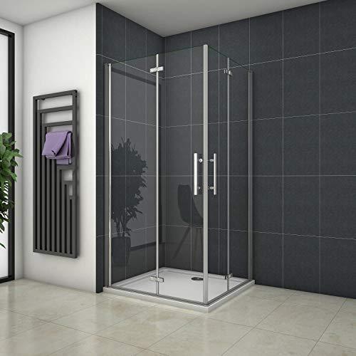 Mampara de ducha Angular Apertura de Puerta Plegable 6mm Antical 76x100x195cm