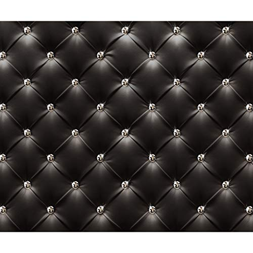 decomonkey Fototapete Leder schwarz Deluxe 400x280 cm XXL Design Tapete Fototapeten Vlies Tapeten Vliestapete Wandtapete moderne Wand Schlafzimmer Wohnzimmer Diamanten