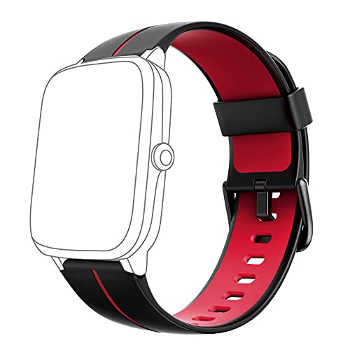 AKWLOVY - Correa de repuesto de silicona suave para reloj inteligente ID205 ID205L ID205S ID205U ID205G (roja)