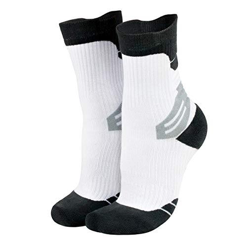 Calcetines deportivos para hombre 3 pares unisex de algodón antideslizante para baloncesto, bicicleta, trekking, funcional y transpirable, Blanco, L / XL: 42-47-Code