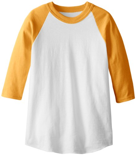 Soffe MJ Kid's 3/4 Sleeve Baseball Jersey, Large, Gold