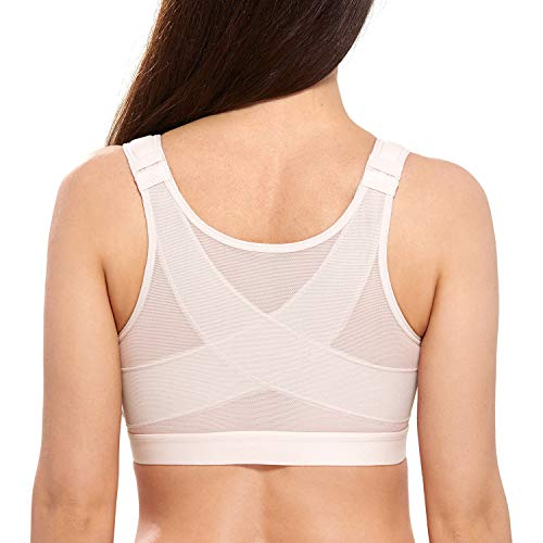 DELIMIRA Women's Full Coverage Front Closure Wire Free Back Support Posture Bra Rose White 38B