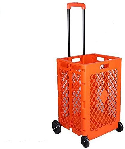 OUWTE Carrito de la Compra Plegable con Ruedas Carrito de supermercado con Caja rodante de Mano Plegable para Viajes de Oficina de Archivos ✅