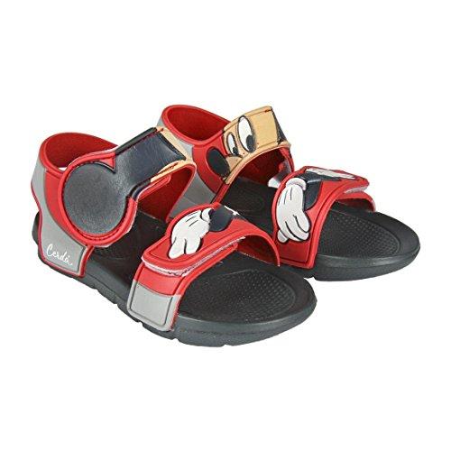 Mickey Mouse S0712113, Flat Sandal, Rojo Negro, 23 EU