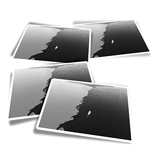 Pegatinas rectangulares de vinilo (juego de 4) – BW – Water Meeting Amazon River Brazil divertidos adhesivos para ordenadores portátiles, tabletas, equipaje, reserva de chatarra, frigoríficos #41917