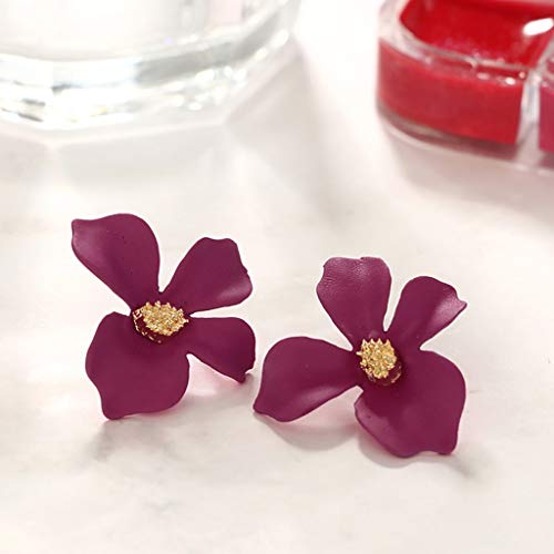 Janly Clearance Sale Womens Earrings, Women Fresh Temperament 5-Color Petal Flower Earrings Alloy Earrings, Jewelry & Watches for Christmas Valentine's Day (Hot Pink)