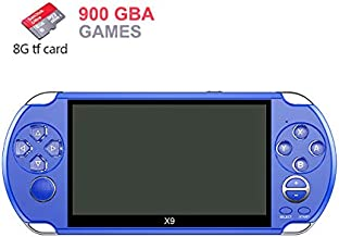 DATA FROG New X9 Game Console PSP Nostalgic GBA/NES Handheld Game Console GBA 5.0 Big Screen (Blue)