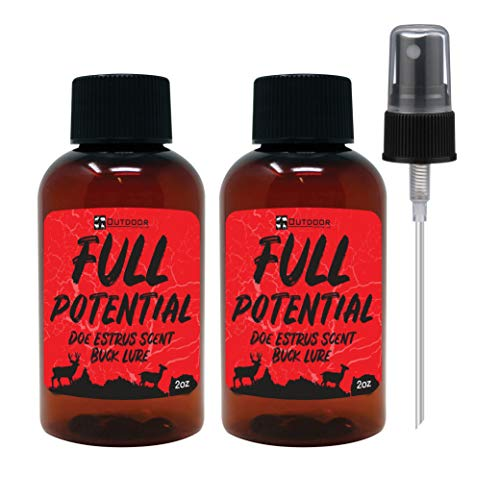 Outdoor Hunting Lab Full Potential Doe Estrus Scent 2 oz [2 Bottle Pack] - Real Whitetail Deer Urine - Buck Lure for Hunting, Deer Attractants and Scents