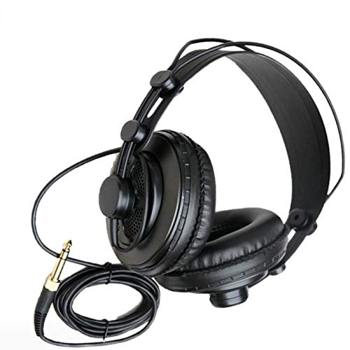 YUIX Reference Monitor Headphone Dynamische Headset Semi-open ontwerp for het opnemen Monitoring Music Game Spelen (Color : Black)