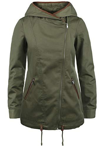 VERO MODA Pola Damen Übergangsmantel Parka Lange Jacke Mit Kapuze, Größe:L, Farbe:Ivy Green