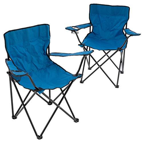 Nexos 2er Set Angelstuhl Faltstuhl Campingstuhl Klappstuhl mit Armlehne inkl. Getränkehalter und Transporttasche in blau H 81 x B 47 x T 48 cm bis 100 kg