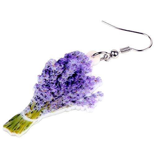 XUBB Acryl Elegante Lavendel Blumenstrauß Ohrringe Drop Posy Pflanzenschmuck für Frauen Mädchen Teen Geschenk
