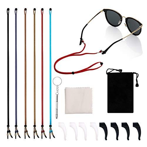 Sport Brillenband,6 Pack Anti-Rutsch Brillenkordel Brillenband Brillenkette Brillenbänder mit Reinigungstuch und Tragetaschen für Sportbrillen, Sonnenbrillen, Lesebrillen,