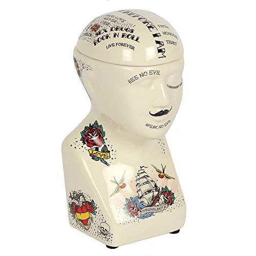Mad Moonshine Phrenology Head - Recipiente Tapa extraíble