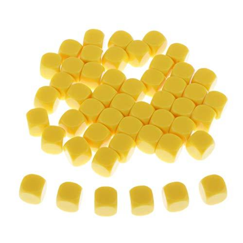 Amagogo 50xRound Edge Blank Dice Yellow para D&D TRPG KTV Party Divertido Juego de de Juguete