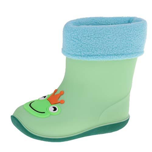 Toygogo Gummistiefel Unisex Kinder Regen Regnerisch Schnee Stiefel Schuhe Socken - Grüner Frosch für 4 Jahre