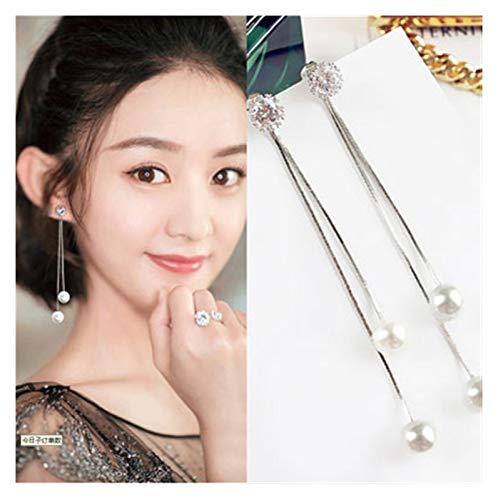 SSN Earrings Korean Tide Temperament Pearl Zircon Long Tassel Ear Line Hypoallergenic Female Simple Earrings Fashion Earrings (Color : G)